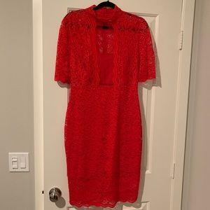 Red 12 Lace Bodycon Midi Length Dress Short Sleeve